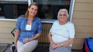 Virginia Phipps (90) with Jill Shrake, Tim Waud's future wife