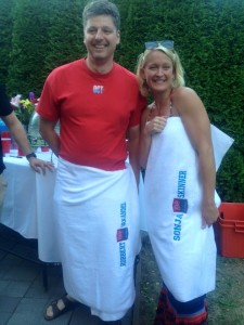 """Robbert van Andel and Sonja Skinner received the coveted """"Tanker Towel"""". Only two Tankers receive the award each year. Past recipients include: Mike Landen, Kristina Franklin, Alex Crooks and Emily Grassman. These athletes are chosen by head coach Tim Waud and they reflect the the true spirit of Tanker swimming."""
