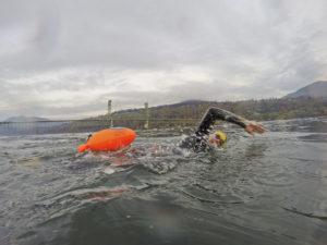 Inflatable, orange safety buoys
