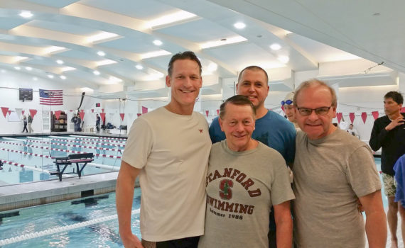 Scott Sullivan, Barry Fasbender, Matt Miller, David Hathaway in the competition pool area