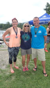 Lisa, Arlene, Matt - after finishing the 9.2 mile swim