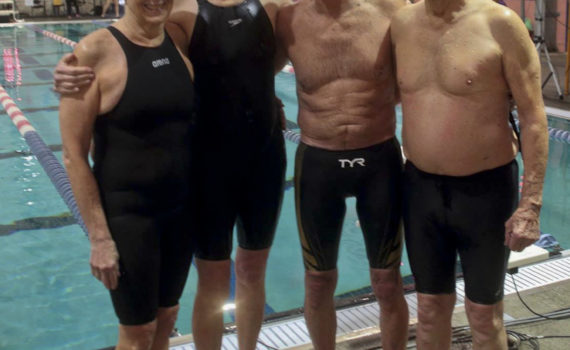 World record — Mixed 320-359; 400 SCM freestyly relay Joy Ward, Margaret Toppel, Dave Radcliff, Willard Lamb
