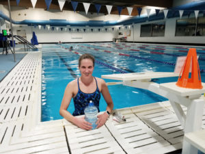SOMA Swimmer Leah Harris after her one-hour swim