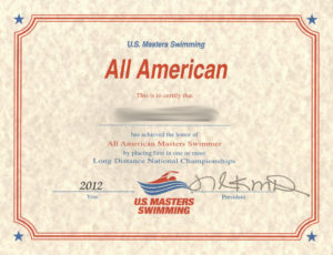 USMS Long Distance All American Certificate