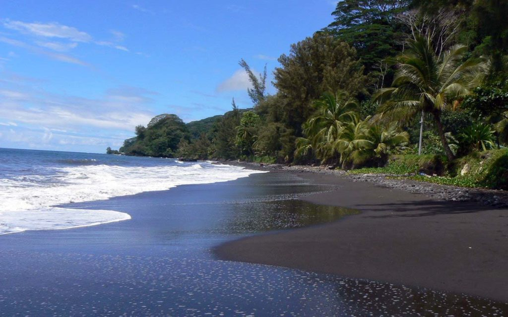 Black sand beaches at Venus Point in Papeete, Tahiti