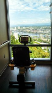 Tim's now-empty chair on the 14th floor of the hospital, looking out the window at the Willamette River.