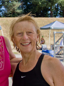Sue Calnek-Morris set 4 Oregon and 4 Zone records at the Gil Young meet.