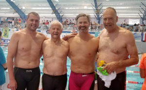 Oregon Men's Medley and Free relay. L to R - Matt Miller, Willard Lamb, Christian Tujo, John Foges
