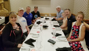 Oregon team dinner. L to R - Judi Voll, Bob Voll, Matt Miller, Willard Lamb, Doug Lamb, Alexis Tujo, Christian Tujo, Alicia Tujo