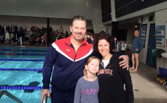 Christian, Alexis and Alicia Tujo — father & daughter swam together
