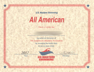 USMS Pool All-American Certificate