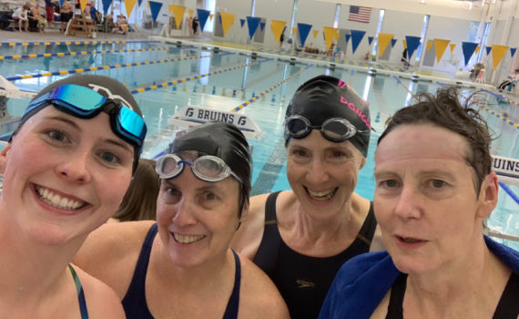 No record-breaking 200 Medley Relay, but fun! L to R Lauren Santamaria, Claudia Daly, Laura Worden and Christina Fox