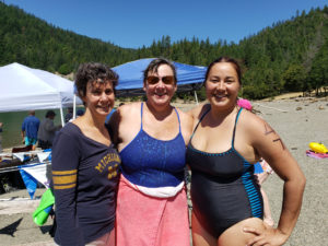 These three swimmers are (left to right) Susie Rabiah, Erica Schumacher, and Natalie Schrik (from TEME in California)