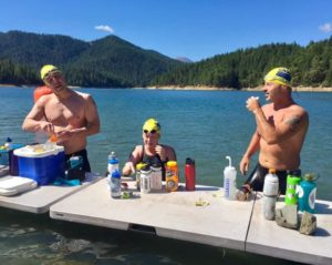 Mike Dix, Megan Tosh and Christian Tujo at Applegate Lake feeding table