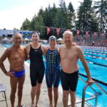 Ron Nakata, Margaret Toppel, Joy Ward, and Willard Lamb set a National record in the Mixed 320-359—200 LC Meter Medley Relay with a 3:05.67. Great swimming!