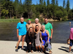 Back to Front, Left to Right: Oregon Swimmers Ed Ramsey, Bob Bruce, Ralph Mohr, Matt Miller, Jayette Pettit, Suzy Jajewski, and Jeanna Summers at Whiskeytown Lake