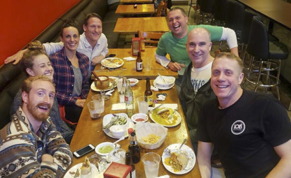 Oregon team dinner at the SPMS meet in Commerce, CA. Left to right: former MAC swimmer Max Bley-Male, who lives in the Los Angeles area now; Alexis Higlett, Jessica Stacey, Scot Sullivan, Matt Miller, Brent Washburne and Kurt Grote. Six members of the team were missing in this picture.