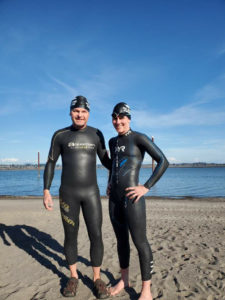 Brave open water swimmers David Hathaway and Christine Mcclafferty