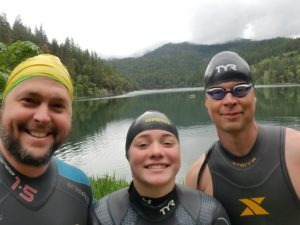 Squaw Lake -Matt Miller, Zoey Dodson, and Matt Osborn at gorgeous Squaw Lake