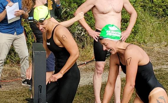 Jayette Pettit (yellow cap) and Suzy Jajewski