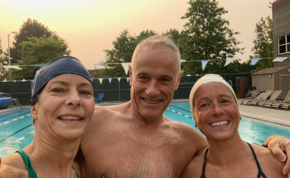 On a very windy, smokey day Vancouver swimmers Arlene Delmage, Doug Brockbank and Suzy Jajewski workout together at Cascade Athletic.