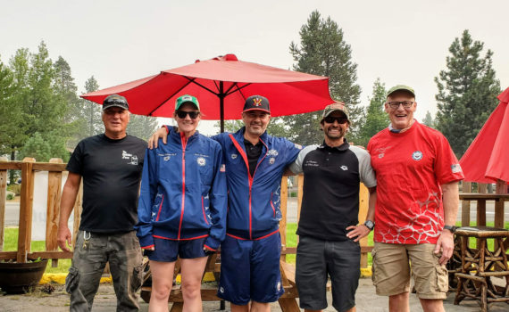Lake Tahoe -- The Crew (from left) - Tom Linthicum (boat Captain), Sara Shepherd (kayak support), Christian Tujo (EPIC SWIMMER), Lee O'Connor (EPIC SWIMMER) & Trevor Williams (kayak support)