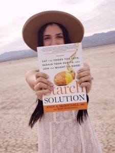 """This is a picture of me withmy favorite book in the entire world, """"The Starch Solution""""!!!"""